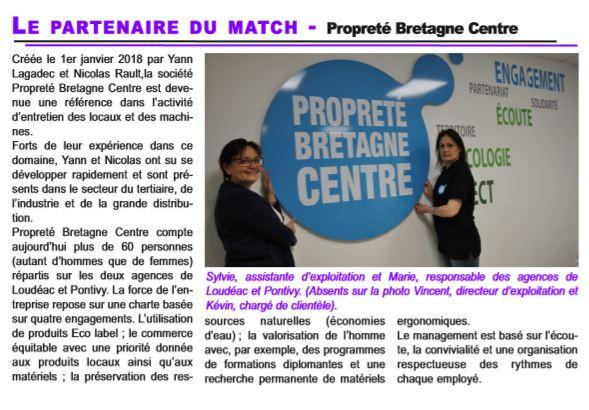 Propreté Bretagne Centre:partenaire du Handball de Loudéac